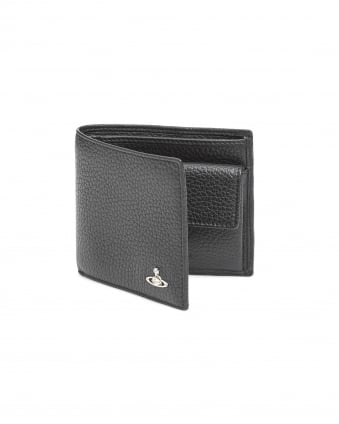 Mens Cold Holder Grained Leather Black Wallet