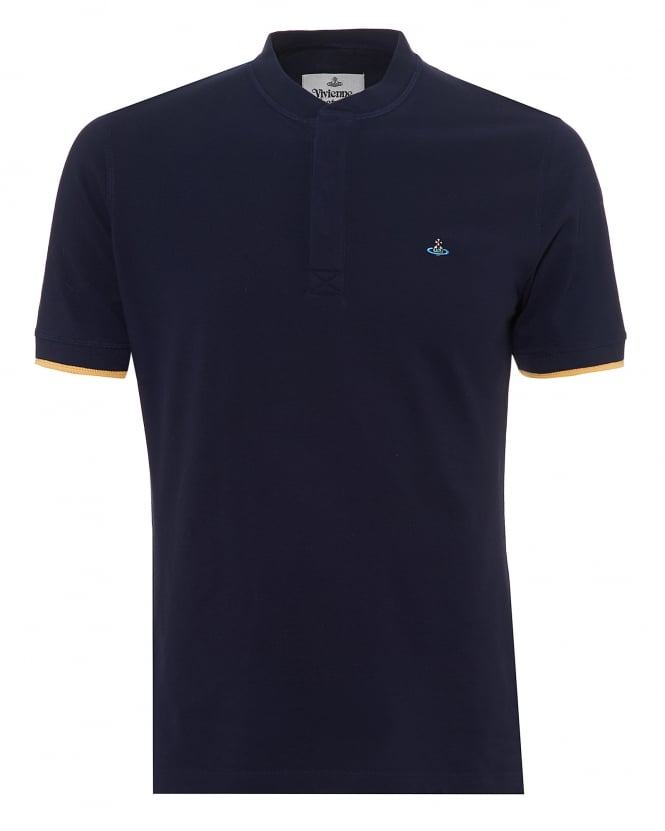 Vivienne Westwood Man Mens Concealed Collar T-Shirt, Tipped Sleeves Navy Blue Tee