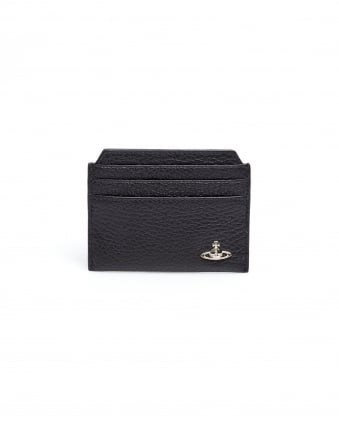 Mens Credit Card Holder, Black Grained Leather Wallet