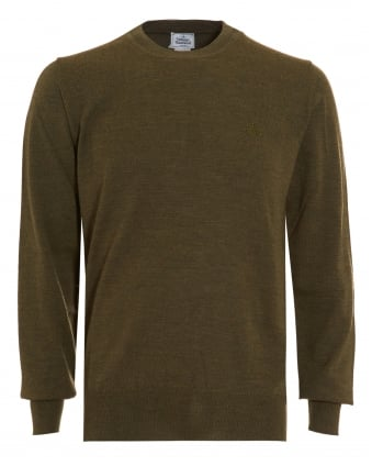 Mens Crew Neck Classic Green Jumper