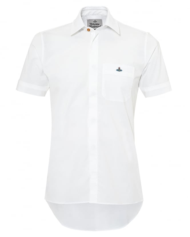 Vivienne Westwood Man Mens Dip Back Hem Shirt, Short Sleeves White Shirt