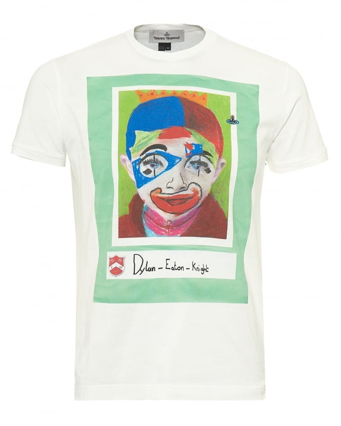 Vivienne Westwood Man Mens Dylan Eaton Knight Clown Print T-Shirt, Signed Off White Tee