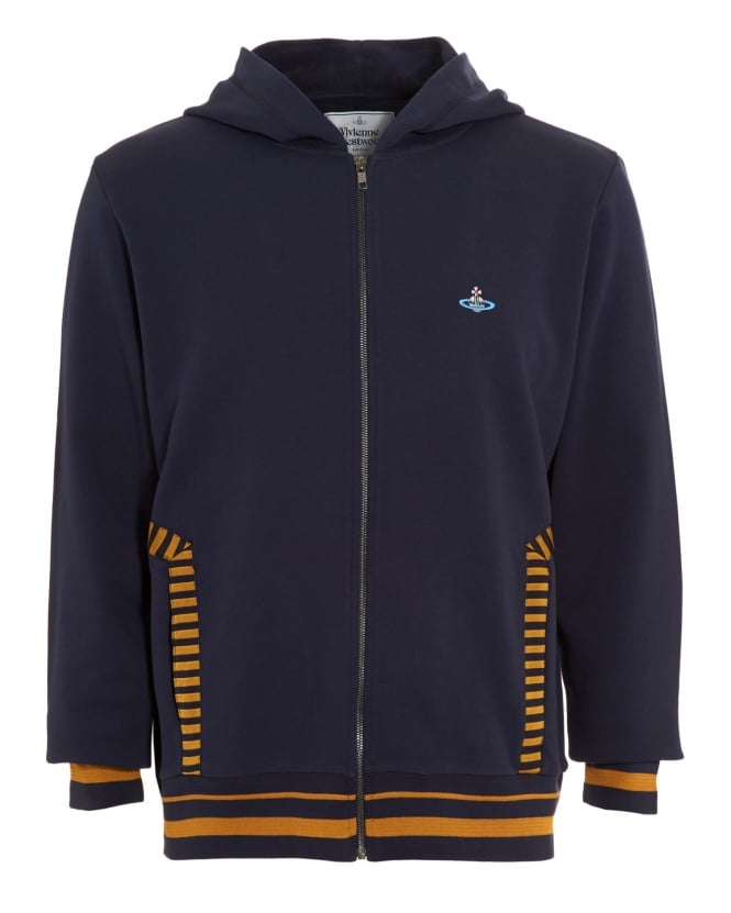 Vivienne Westwood Man Mens Felpa Full-Zip Striped Navy Blue Hoodie