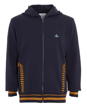 Mens Felpa Full-Zip Striped Navy Blue Hoodie