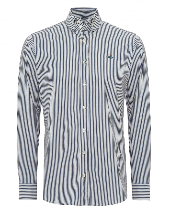Vivienne Westwood Man Mens Fine Stripe Shirt, Regular Fit Navy & White Shirt