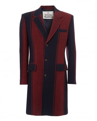 Mens Full Length Coat, Vertical Stripe Panel Navy Jacket