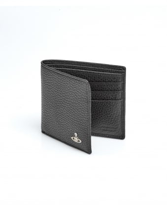 Mens Grained Leather Billfold Black Wallet