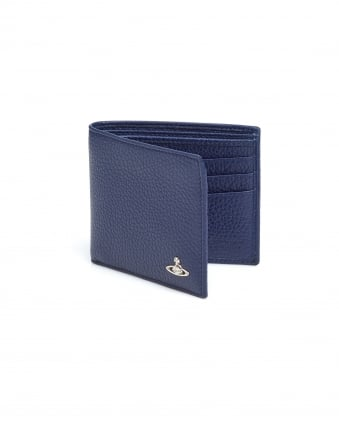 Mens Grained Leather Billfold Blue Wallet