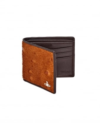 Mens Grained Leather Ponyskin Front Brown Wallet