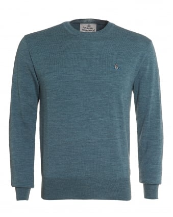 Mens Green Slim-Fit Wool Orb Logo Jumper