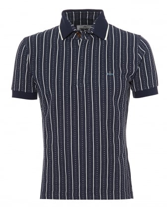 Mens Jaquard Polo, Navy & White Patterned Polo Shirt
