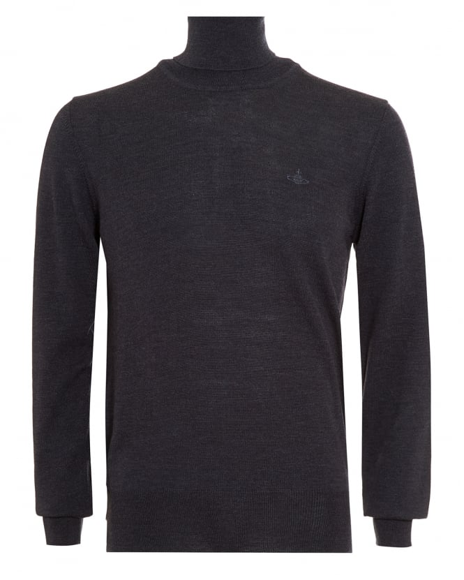 Vivienne Westwood Man Mens Jumper, Roll Neck Knitted Charcoal Grey Sweater