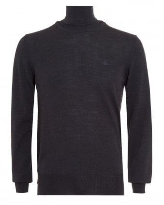 Mens Jumper, Roll Neck Knitted Charcoal Grey Sweater