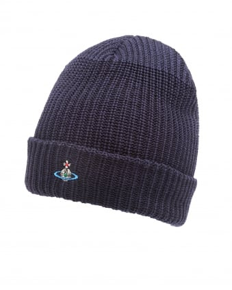Mens Knit Beanie, Ribbed Navy Blue Hat