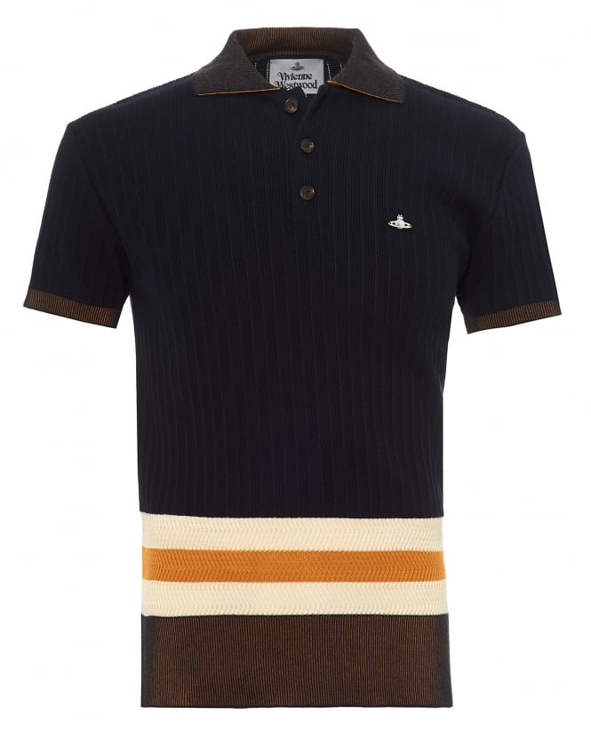 Vivienne Westwood Man Mens Knitted Polo Shirt, Contrast Striped Waistband Navy Blue Polo