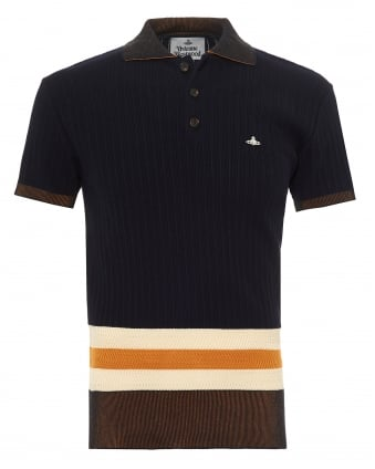 Mens Knitted Polo Shirt, Contrast Striped Waistband Navy Blue Polo