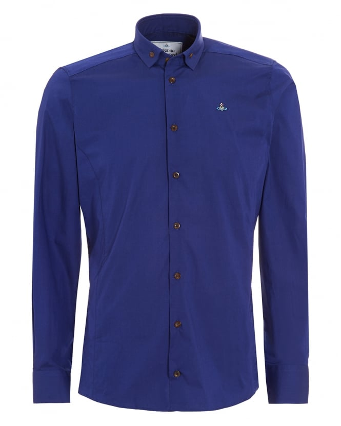 Vivienne Westwood Man Mens Krall Buttoned Collar Slim Fit Royal Blue Shirt