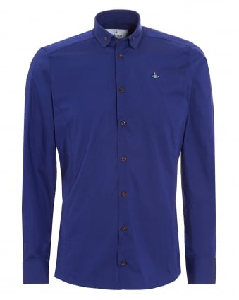 Mens Krall Buttoned Collar Slim Fit Royal Blue Shirt