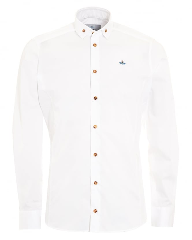 Vivienne Westwood Man Mens Krall Buttoned Collar Slim Fit White Shirt