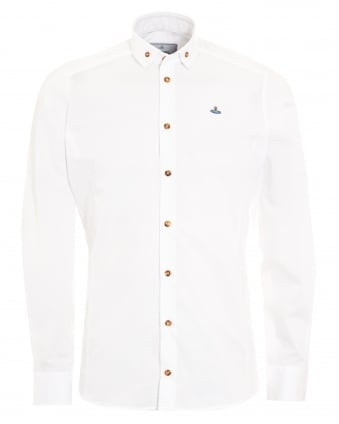 Mens Krall Buttoned Collar Slim Fit White Shirt