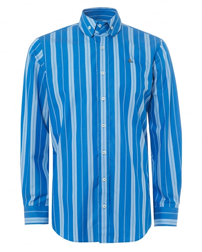 Vivienne Westwood Man Mens Krall Fitted Shirt, Bold Blue Pinstripe Orb Logo Shirt