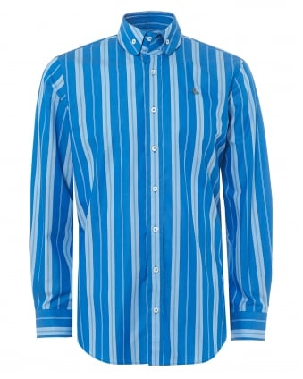 Mens Krall Fitted Shirt, Bold Blue Pinstripe Orb Logo Shirt