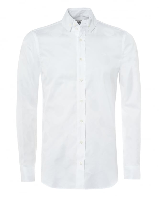 Vivienne Westwood Man Mens Krall Fitted Shirt, White Sun And Moon Print Shirt