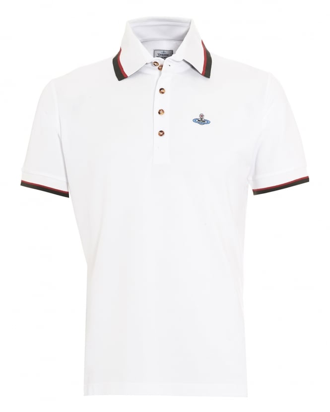 Vivienne Westwood Man Mens Krall Polo Shirt, White Tipped Polo