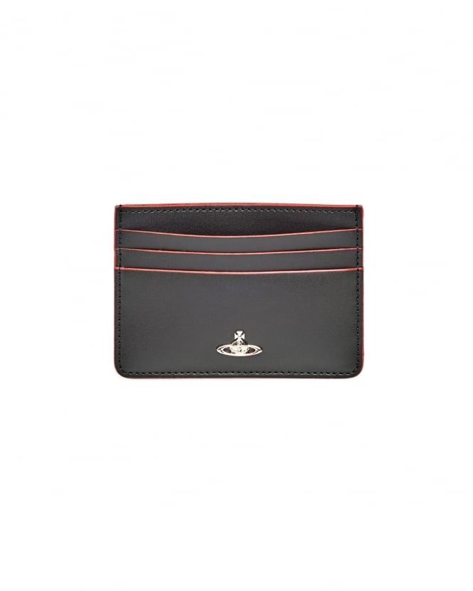 Vivienne Westwood Man Mens Leather Red Trim Black Credit Card Holder