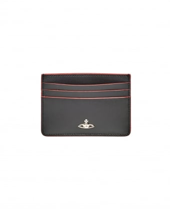 Mens Leather Red Trim Black Credit Card Holder