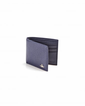 Mens Logo Pebbled Leather Billfold Blue Wallet