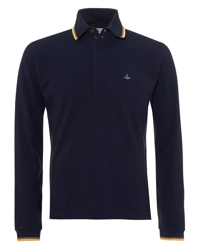 Vivienne Westwood Man Mens Long Sleeved Polo Shirt, Gold Tipped Navy Blue Polo