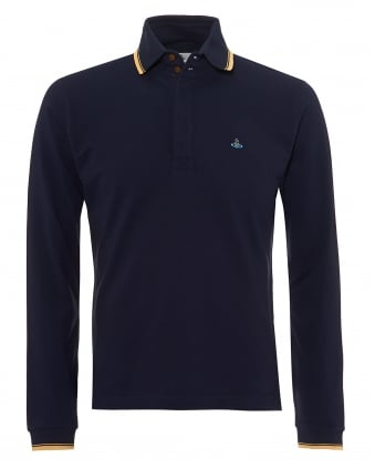 Mens Long Sleeved Polo Shirt, Gold Tipped Navy Blue Polo