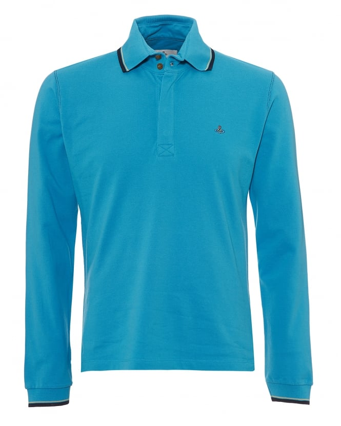 Vivienne Westwood Man Mens Long Sleeved Polo Shirt, Navy Tipped Turquoise Blue Polo