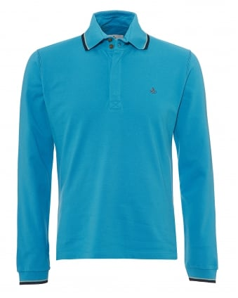 Mens Long Sleeved Polo Shirt, Navy Tipped Turquoise Blue Polo