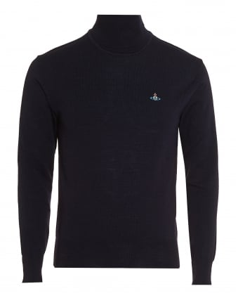 Mens Navy Blue Jumper, Slim-Fit Roll Neck Orb Logo Sweater
