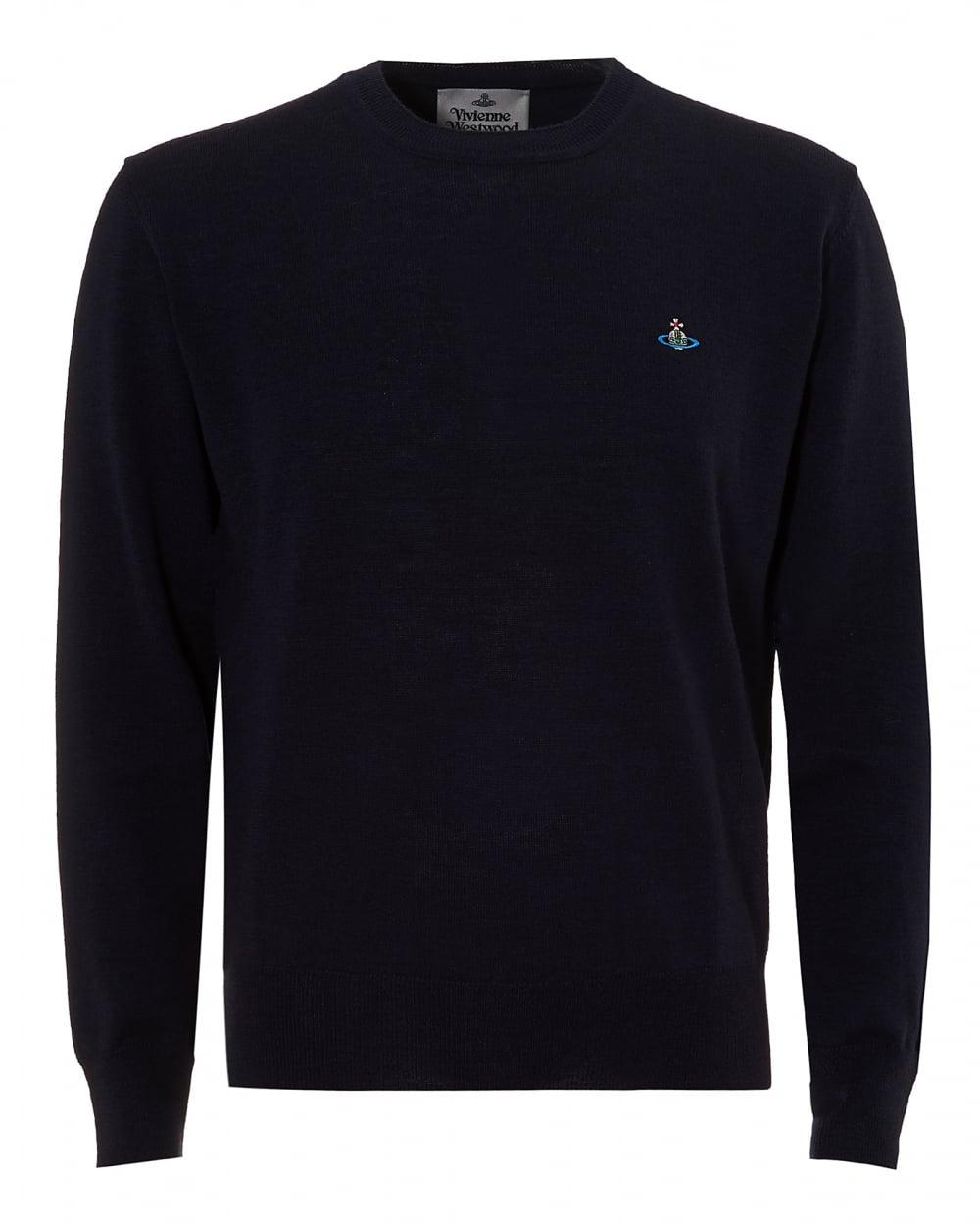 Mens Navy Blue Slim-Fit Wool Orb Logo Jumper