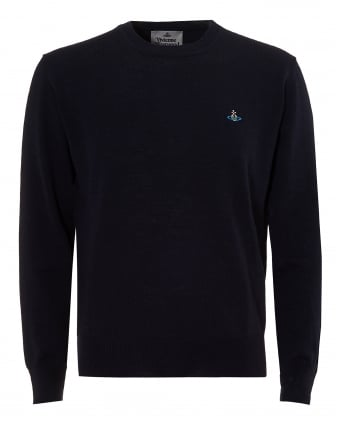 Mens Navy Slim-Fit Wool Orb Logo Jumper