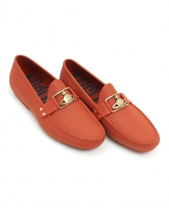 Mens Orb Loafer, Rubberised Branded Coral Red Moccasin Shoes