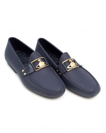 Mens Orb Loafer, Rubberised Branded Navy Blue Moccasin Shoes