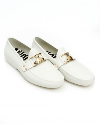 Mens Orb Loafer, Rubberised Branded White Moccasin Shoes