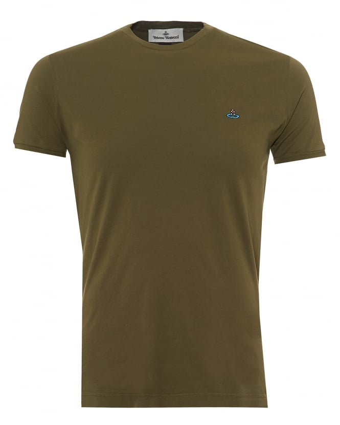 Vivienne Westwood Man Mens Organic Cotton T-Shirt, Chest Orb Logo Green Tee