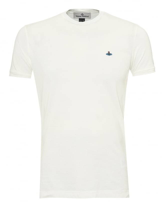 Vivienne Westwood Man Mens Organic Cotton T-Shirt, Chest Orb Logo White Tee
