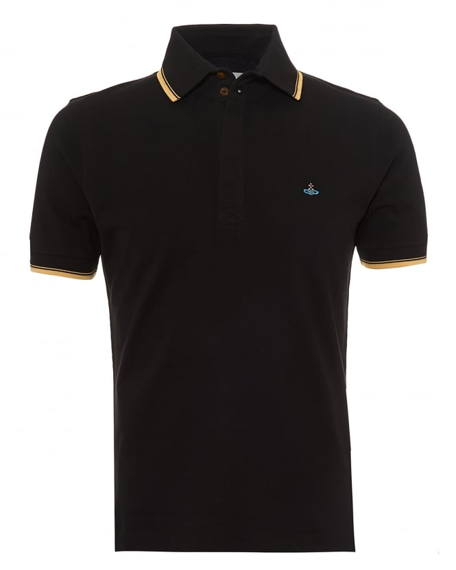 Vivienne Westwood Man Mens Overlock Polo Shirt, Tipped Sleeves & Collar Black Polo
