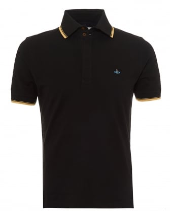 Mens Overlock Polo Shirt, Tipped Sleeves & Collar Black Polo