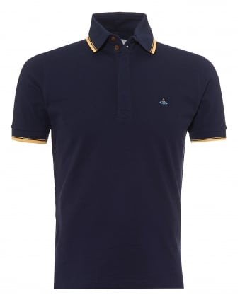 Mens Overlock Polo Shirt, Tipped Sleeves & Collar Navy Blue Polo