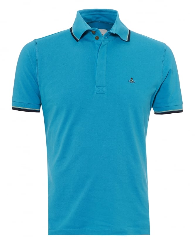 Vivienne Westwood Man Mens Overlock Polo Shirt, Tipped Sleeves & Collar Turquoise Blue Polo