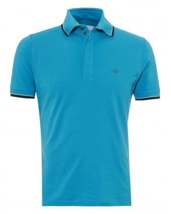 Mens Overlock Polo Shirt, Tipped Sleeves & Collar Turquoise Blue Polo