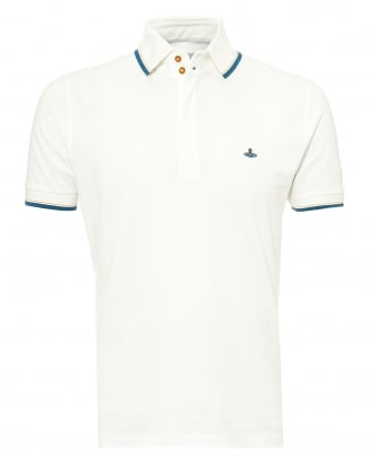 Mens Overlock Polo Shirt, Tipped Sleeves & Collar White Polo