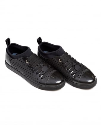 Mens Perforated Trainers, Rubberised Black Sneakers